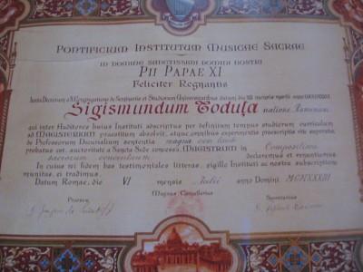 Diploma institutului de muzică sacră din Roma. 1933