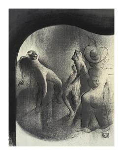 Desen Litografic. Boogie Woogie. Artist. Al Hirschfeld. 1903 - 2003