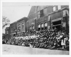 "Bethel A.M.E. Church congregation  Description: Large crowd in front of the Bethel A.M.E. Church, sign reading ""Bethel Social Service"" projecting from building. [Napoleon at Hastings Street, cornerstone laid December 22, 1889]"
